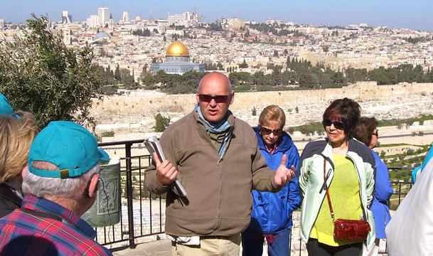 Ziv Cohen guiding at Mount Olive, Israel
