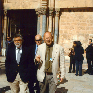 Guiding Foreign Minister of Portugal, Mr. Luis Amado — at Church of the Holy Sepulchre.