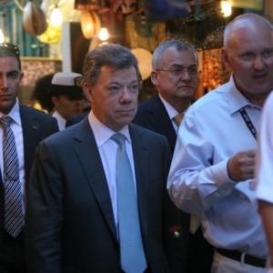 Guiding the president of Colombia. Mr. Juan Manuel Santos Calderon. June 2013