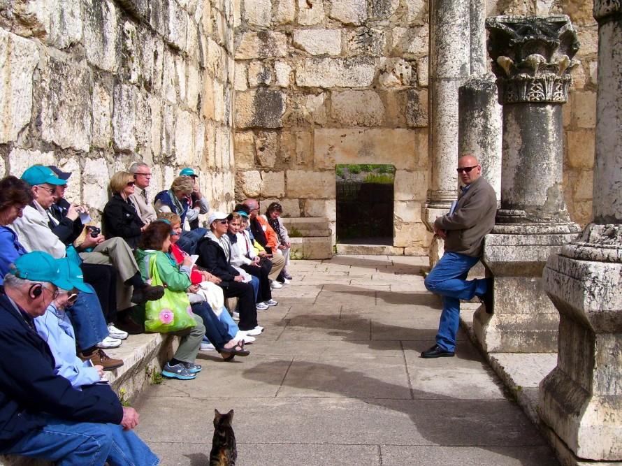 Guiding at Capernaum Israel