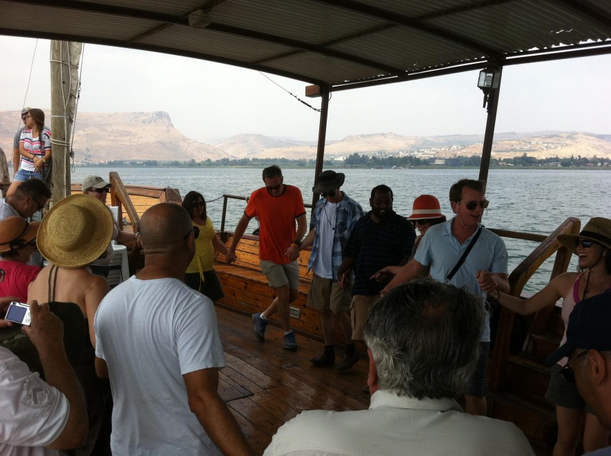 Leanning Israeli folk dance while sayling the sea of Galillee